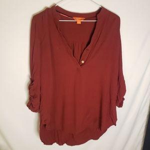 Joe fresh burgundy blouse with tie back sleeve